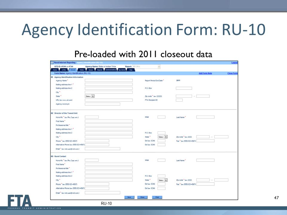 Agency Identification Form: RU-10