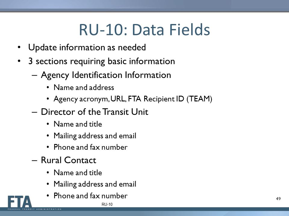 RU-10: Data Fields Update information as needed