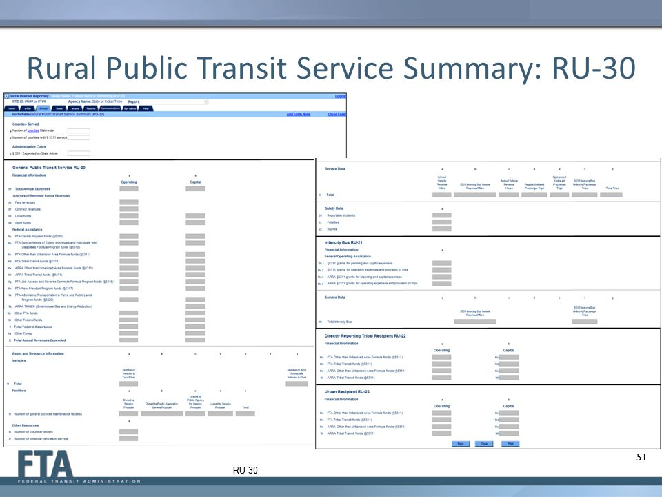 Rural Public Transit Service Summary: RU-30