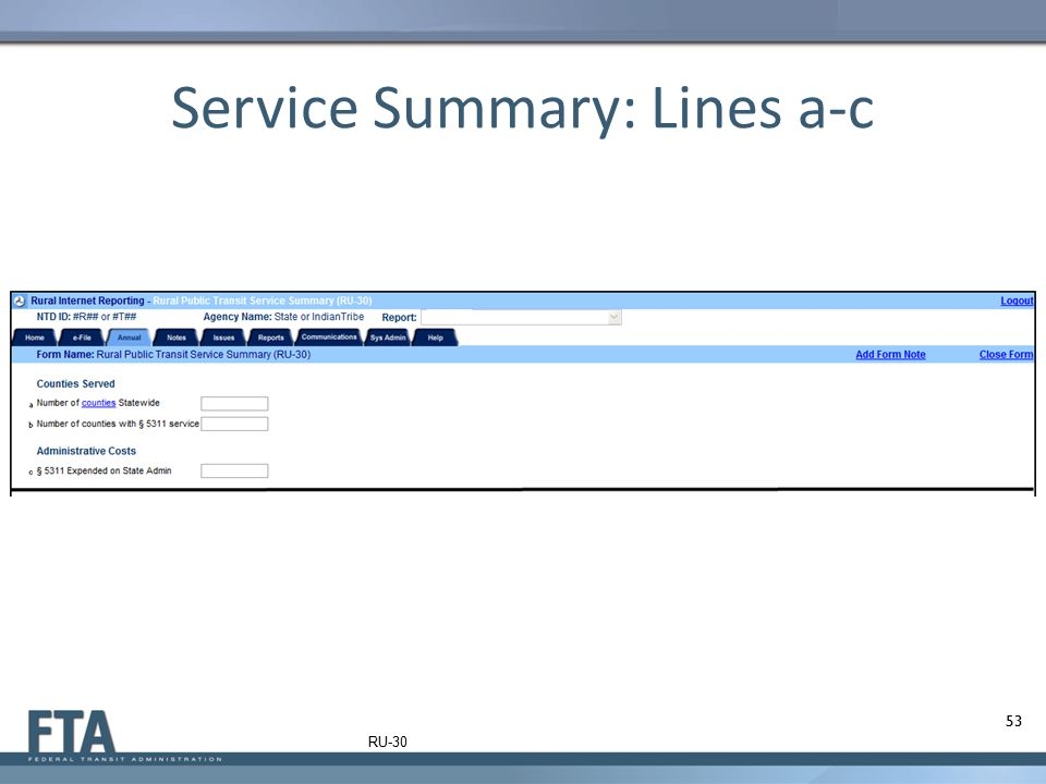Service Summary: Lines a-c