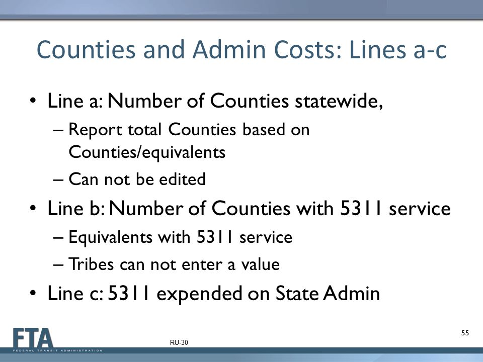 Counties and Admin Costs: Lines a-c