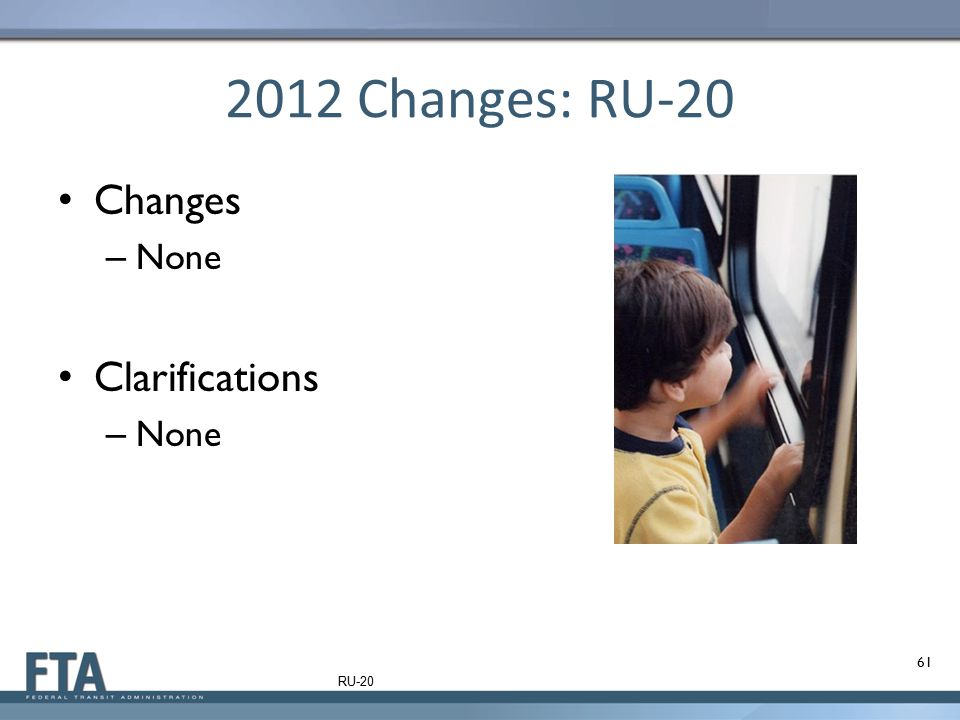 2012 Changes: RU-20 Changes None Clarifications RU-20