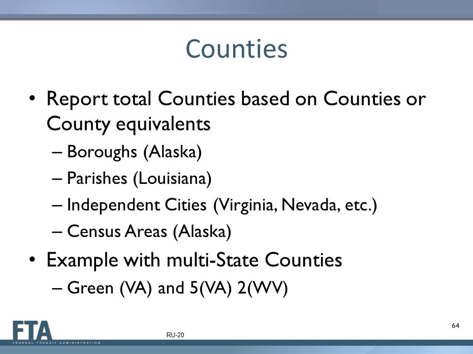 Counties Report total Counties based on Counties or County equivalents