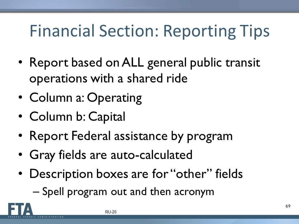 Financial Section: Reporting Tips