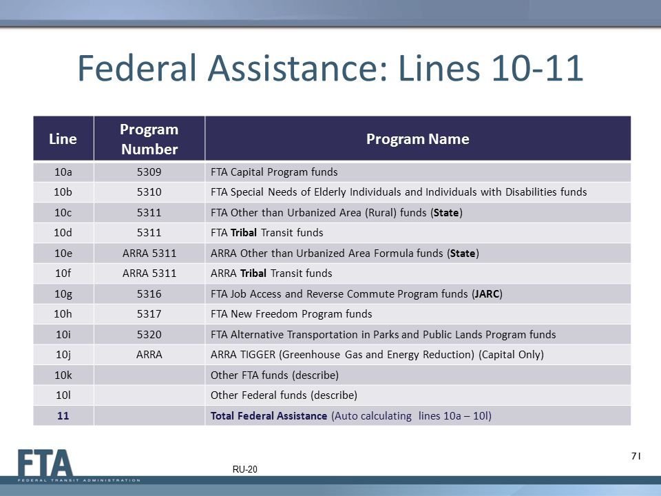 Federal Assistance: Lines 10-11