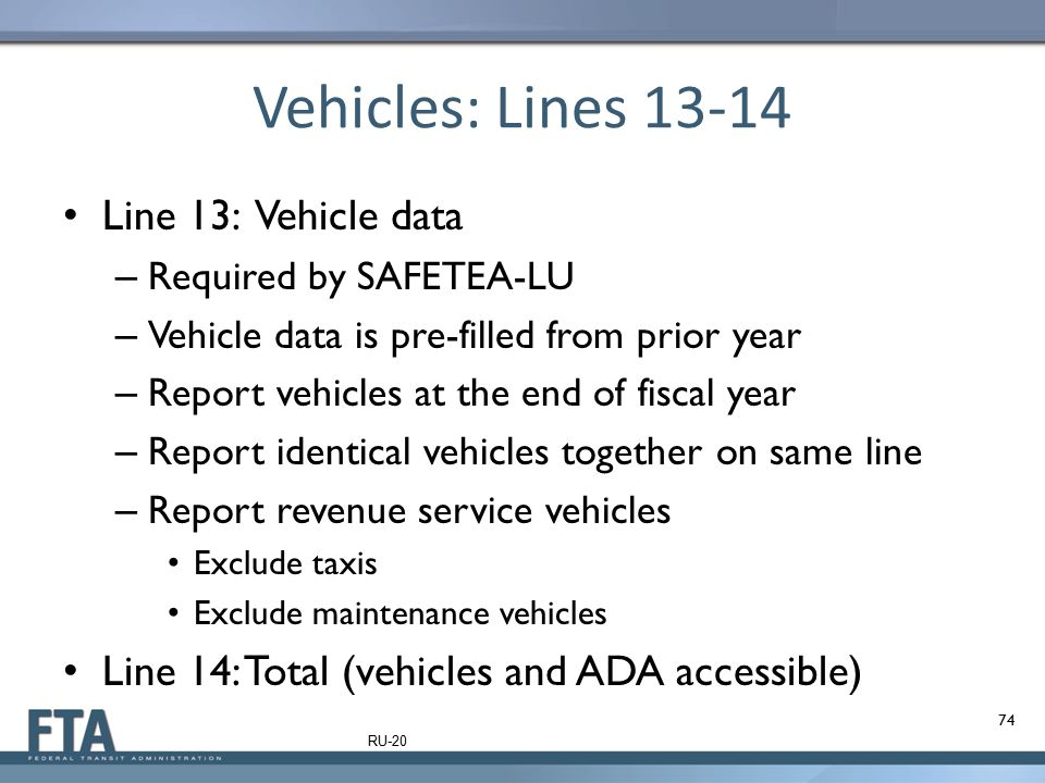 Vehicles: Lines 13-14 Line 13: Vehicle data