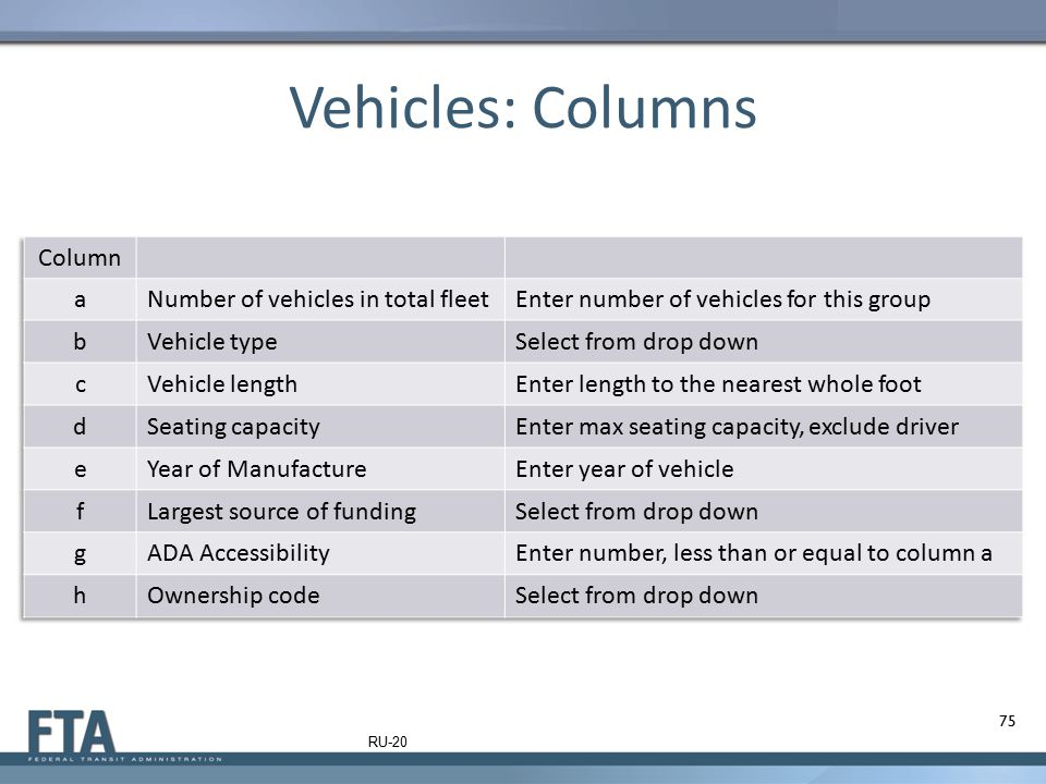Vehicles: Columns Column a Number of vehicles in total fleet
