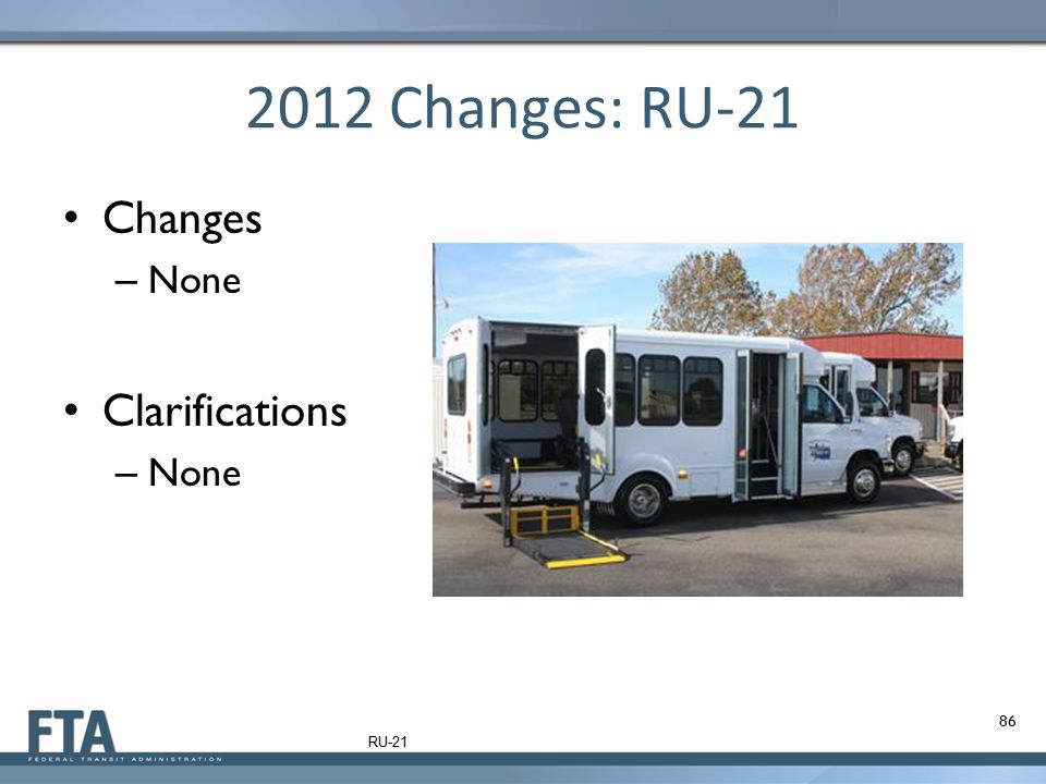 2012 Changes: RU-21 Changes None Clarifications RU-21