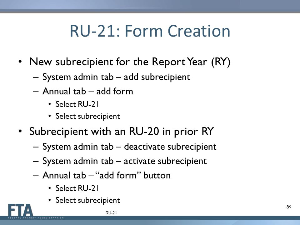 RU-21: Form Creation New subrecipient for the Report Year (RY)
