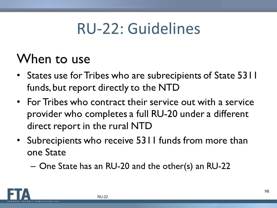 RU-22: Guidelines When to use