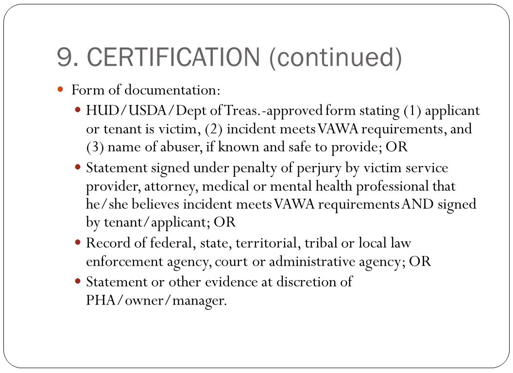 9. CERTIFICATION (continued)