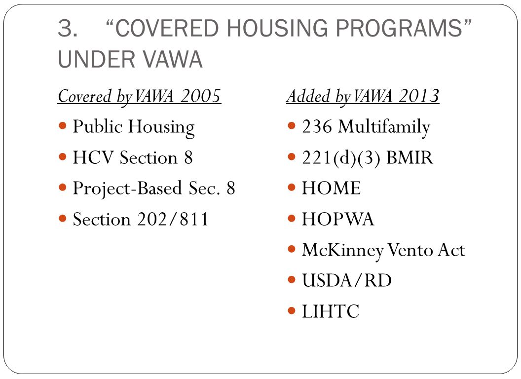 3. COVERED HOUSING PROGRAMS UNDER VAWA