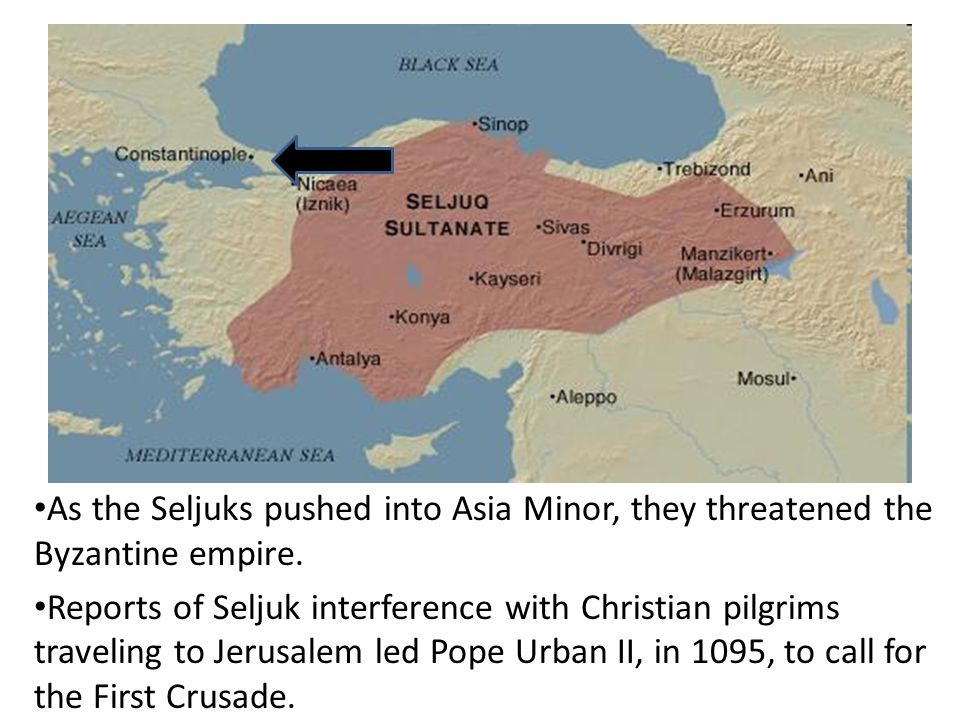 As the Seljuks pushed into Asia Minor, they threatened the Byzantine empire.