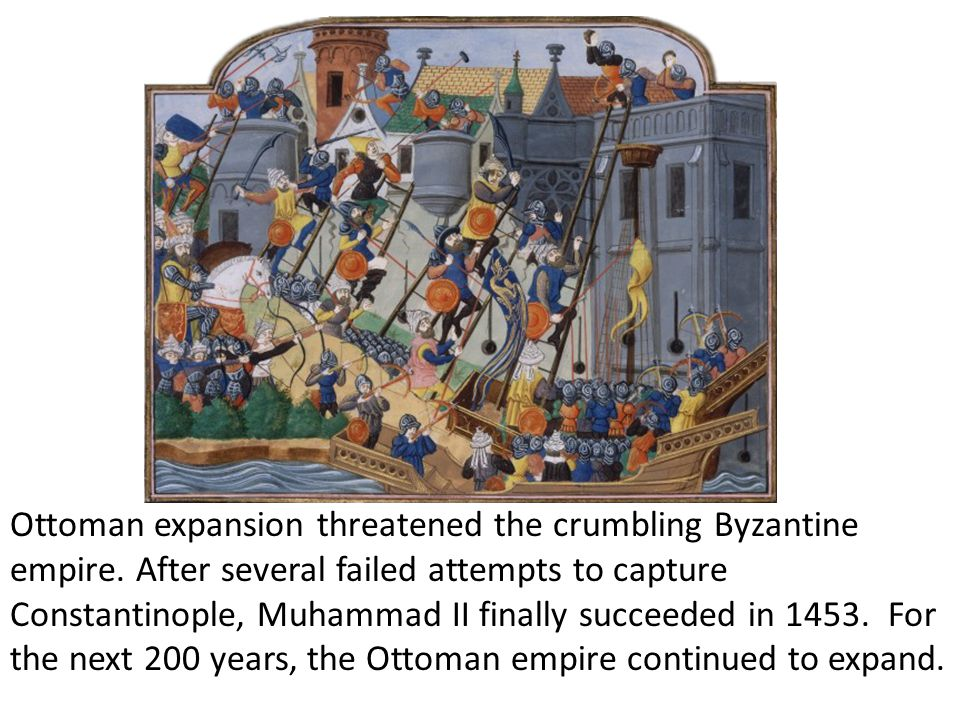 Ottoman expansion threatened the crumbling Byzantine empire