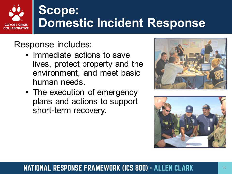 Scope: Domestic Incident Response