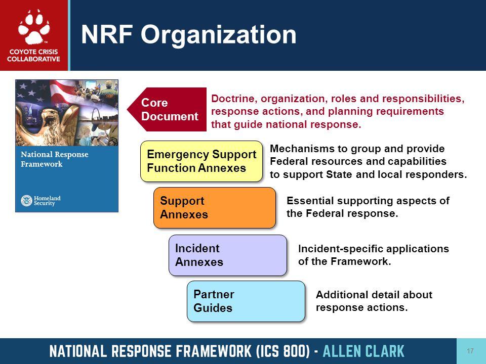 NRF Organization Core Document Emergency Support Function Annexes