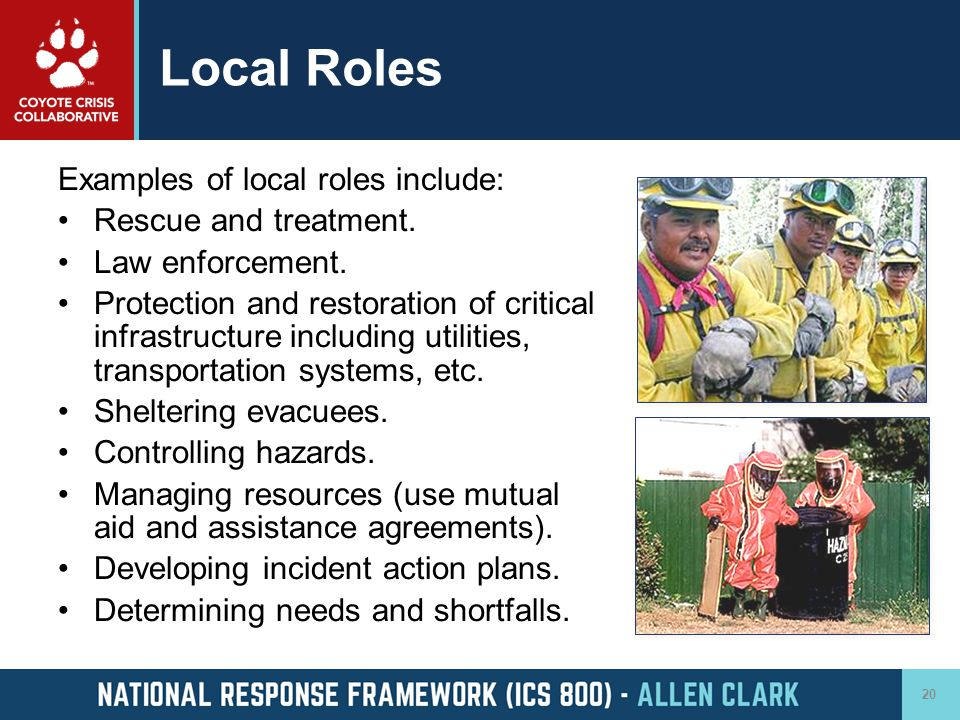 Local Roles Examples of local roles include: Rescue and treatment.