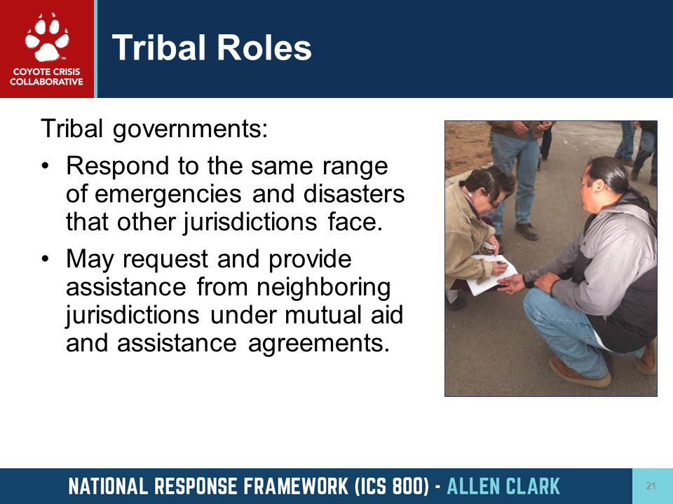 Tribal Roles Tribal governments: