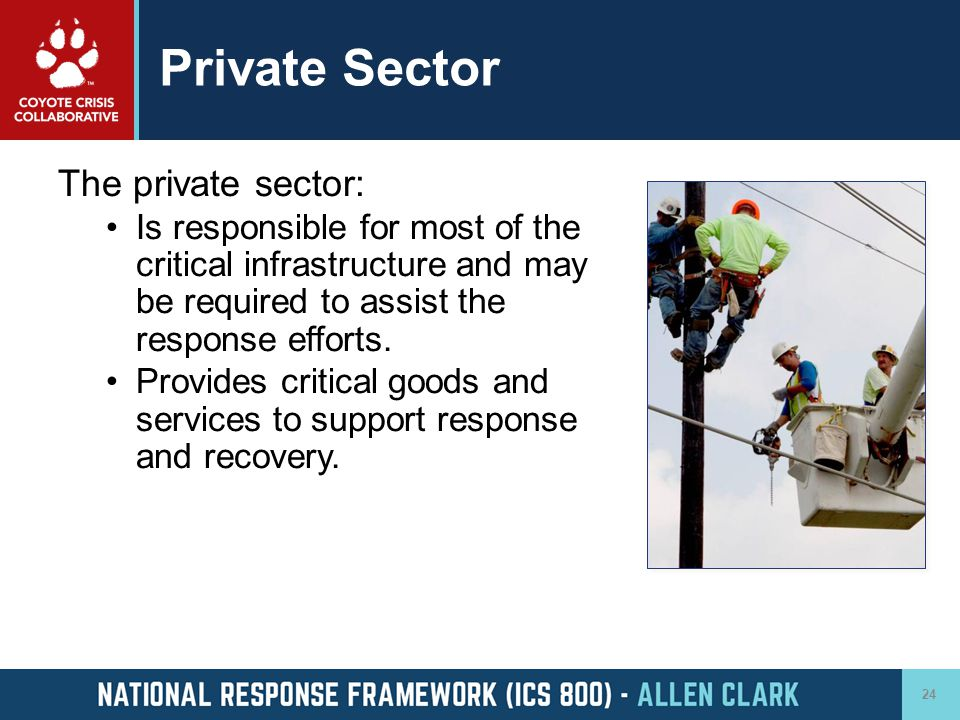 Private Sector The private sector: