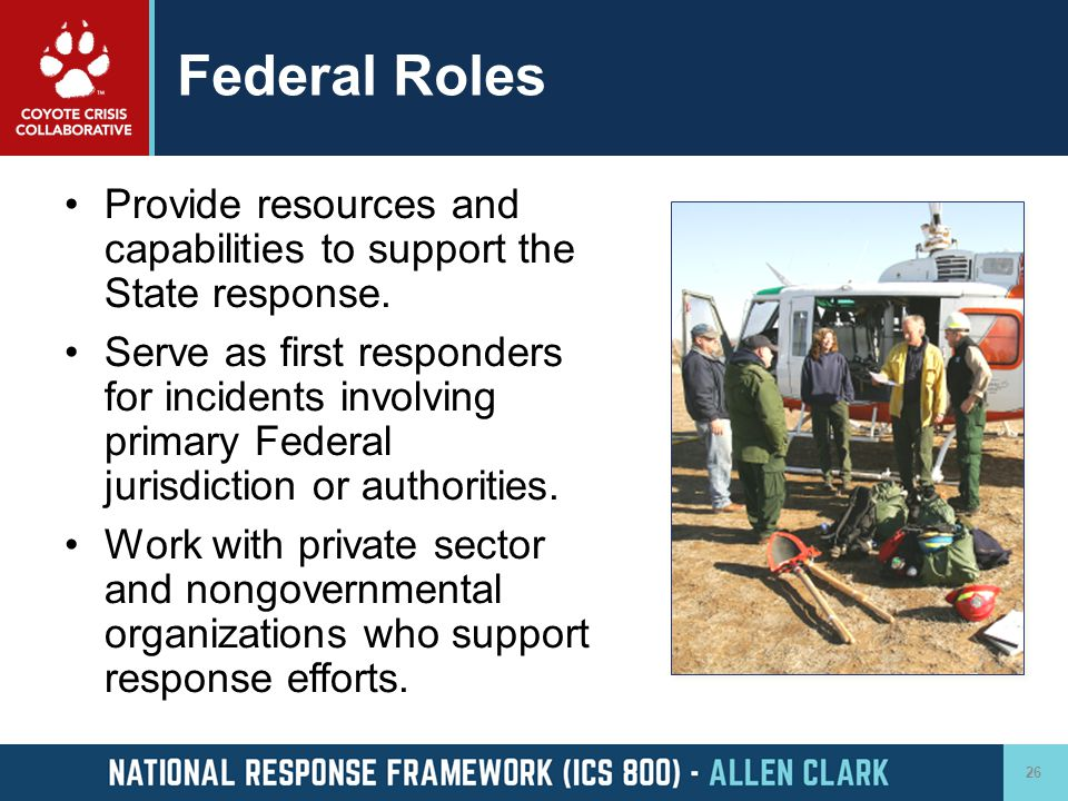 Federal Roles Provide resources and capabilities to support the State response.