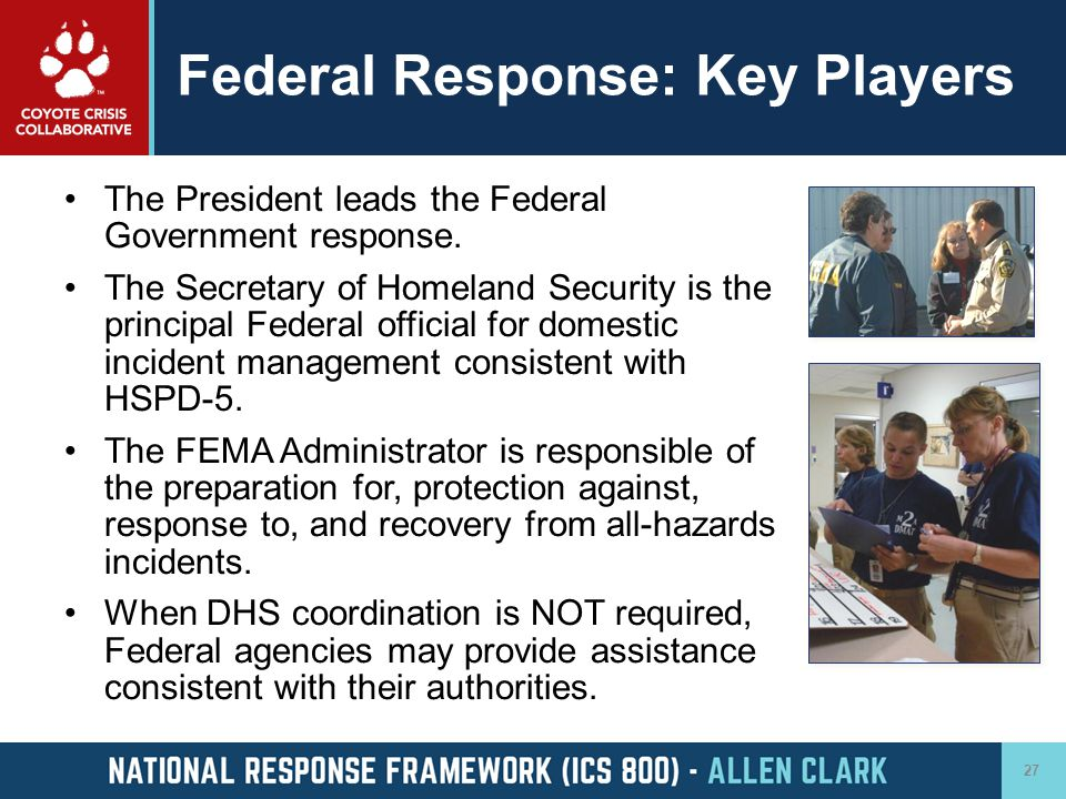 Federal Response: Key Players
