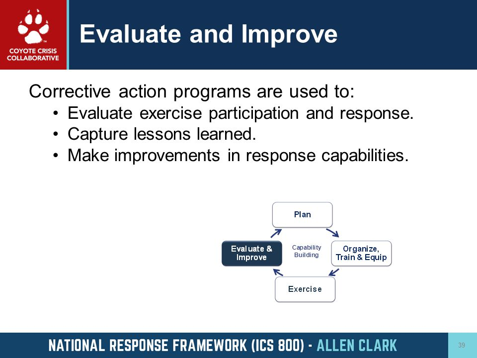 Evaluate and Improve Corrective action programs are used to: