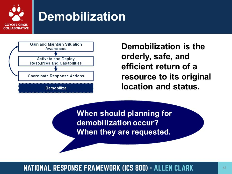 Demobilization Demobilization is the orderly, safe, and efficient return of a resource to its original location and status.