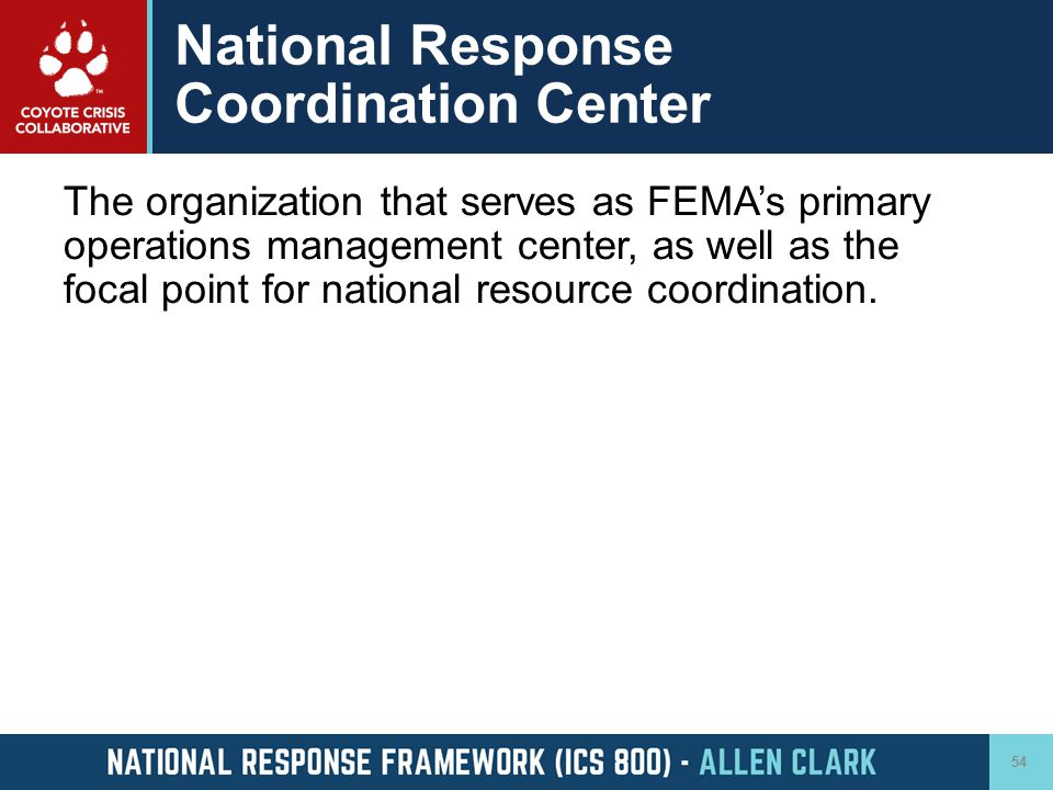 National Response Coordination Center