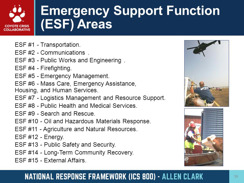 Emergency Support Function (ESF) Areas