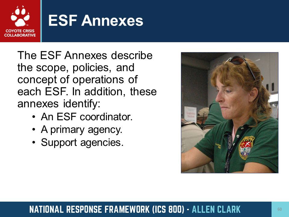 ESF Annexes The ESF Annexes describe the scope, policies, and concept of operations of each ESF. In addition, these annexes identify: