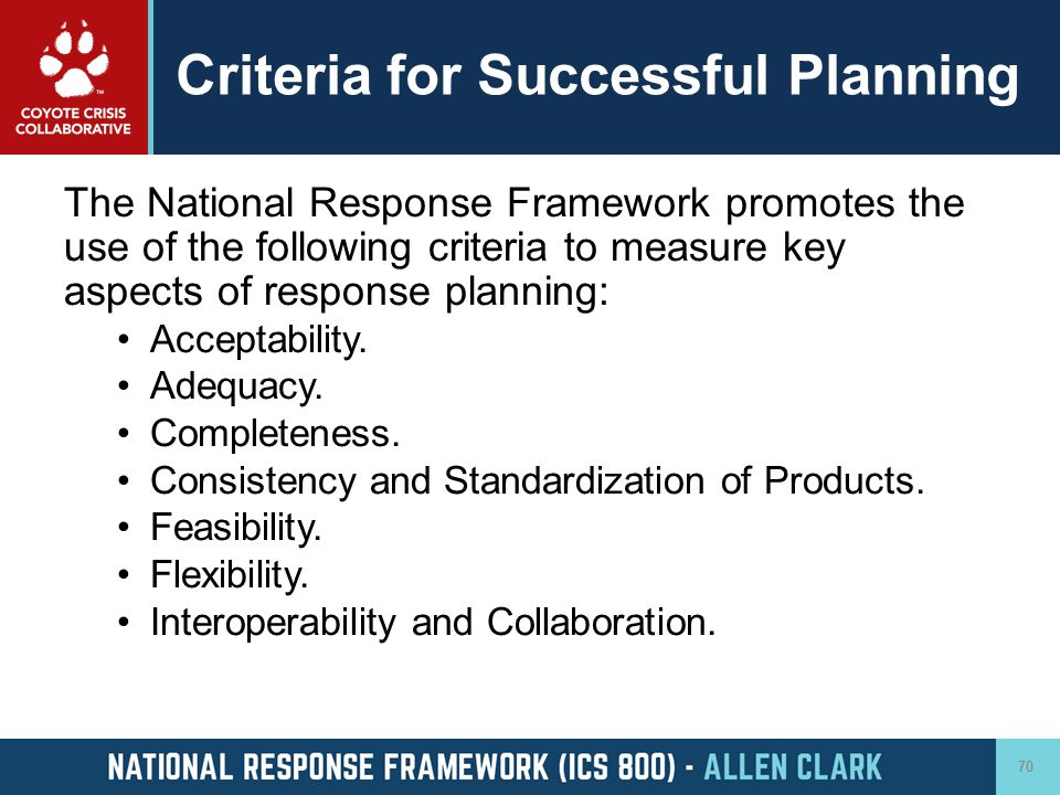 Criteria for Successful Planning