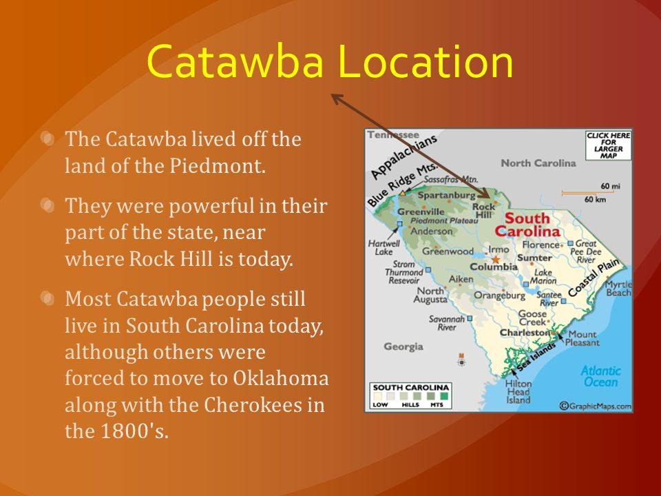 Catawba Location The Catawba lived off the land of the Piedmont.