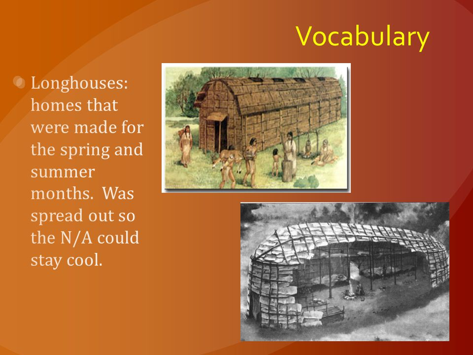 Vocabulary Longhouses: homes that were made for the spring and summer months.