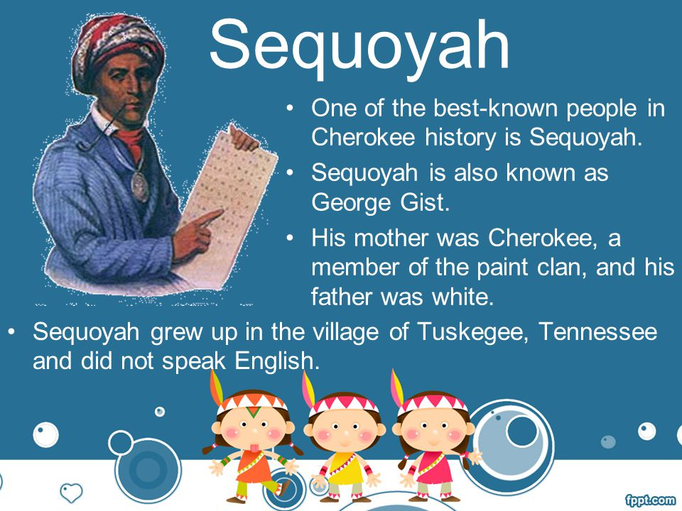 Sequoyah One of the best-known people in Cherokee history is Sequoyah.