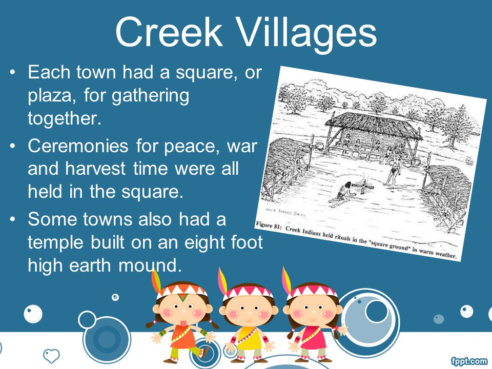 Creek Villages Each town had a square, or plaza, for gathering together. Ceremonies for peace, war and harvest time were all held in the square.