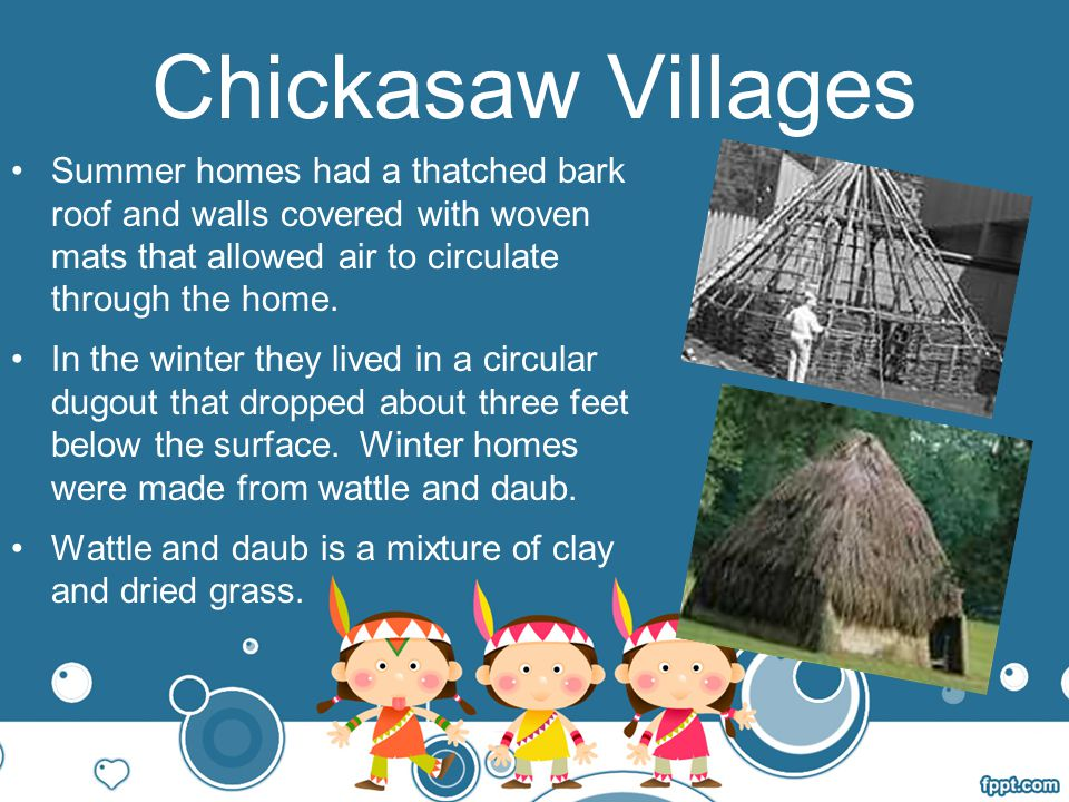 Chickasaw Villages Summer homes had a thatched bark roof and walls covered with woven mats that allowed air to circulate through the home.