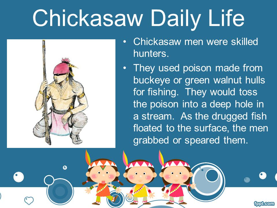 Chickasaw Daily Life Chickasaw men were skilled hunters.