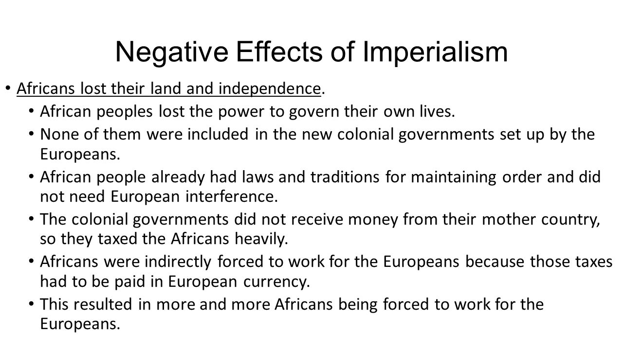 What are the negative effects of Imperialism in America?