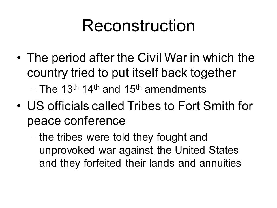 Reconstruction The period after the Civil War in which the country tried to put itself back together.