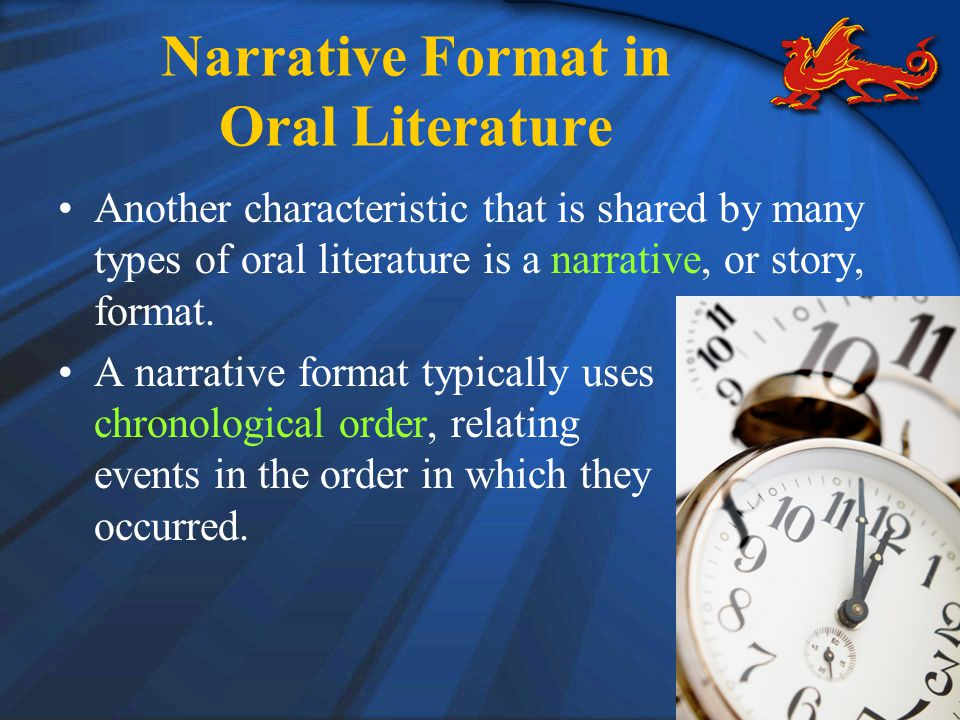 Narrative Format in Oral Literature