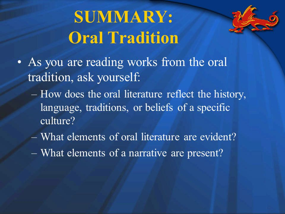 SUMMARY: Oral Tradition