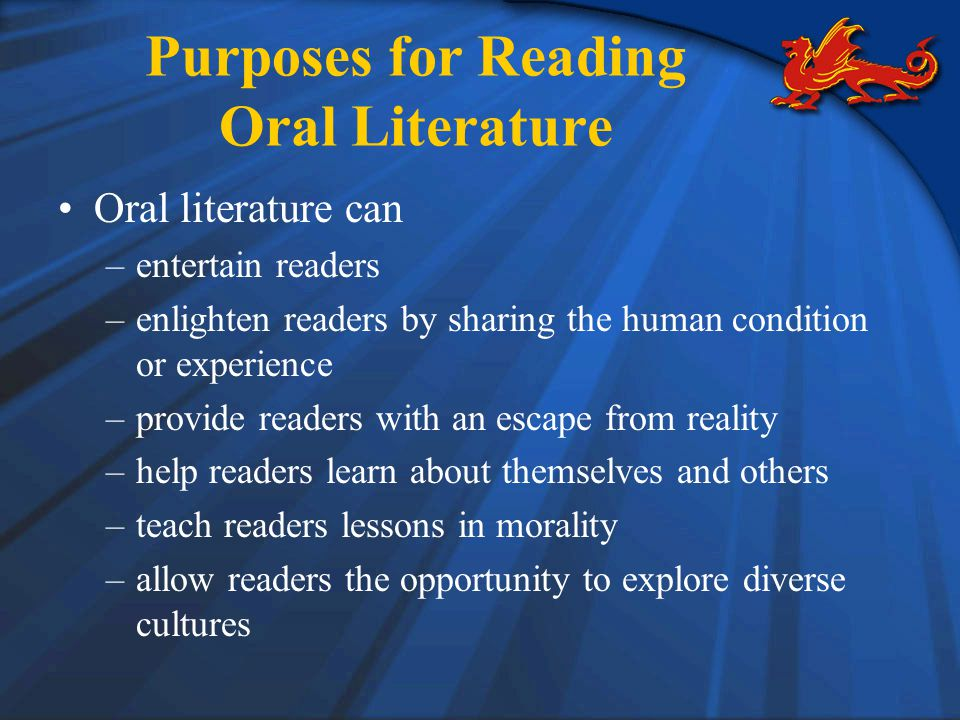 Purposes for Reading Oral Literature