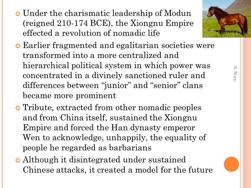 Under the charismatic leadership of Modun (reigned 210-174 BCE), the Xiongnu Empire effected a revolution of nomadic life