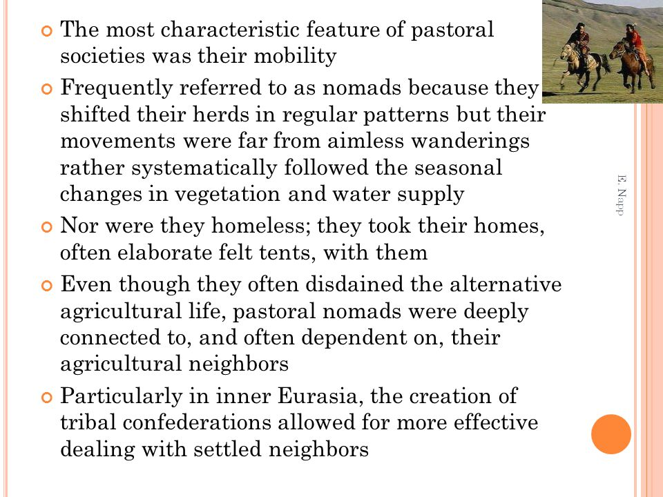 The most characteristic feature of pastoral societies was their mobility