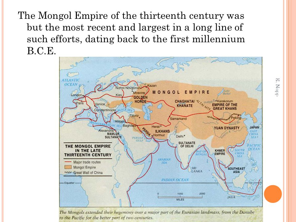 The Mongol Empire of the thirteenth century was but the most recent and largest in a long line of such efforts, dating back to the first millennium B.C.E.
