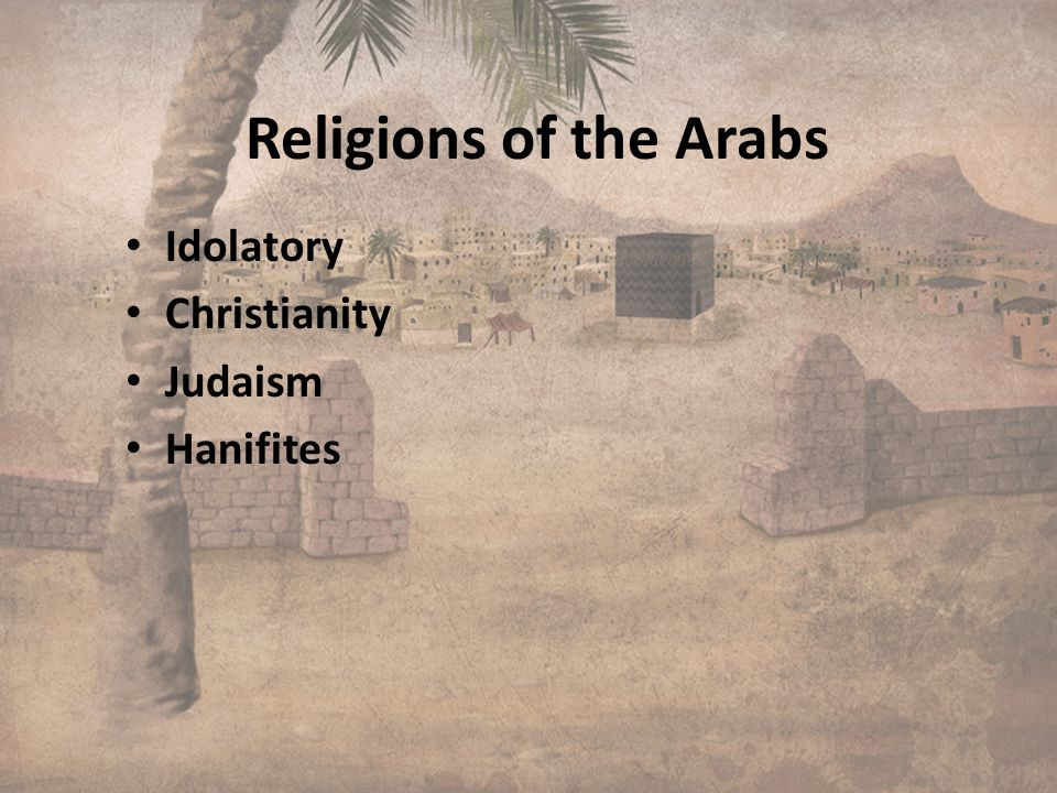 Religions of the Arabs Idolatory Christianity Judaism Hanifites