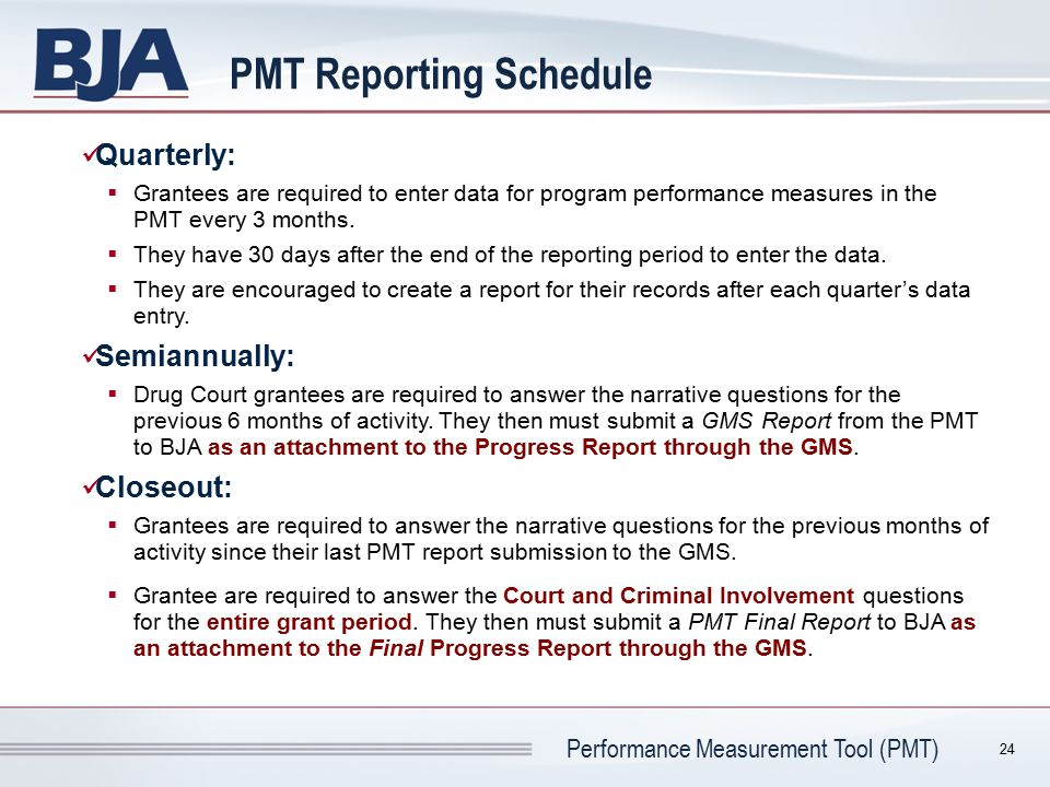PMT Reporting Schedule