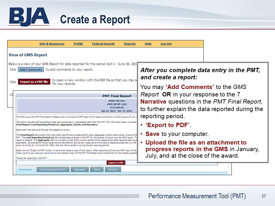 Create a Report After you complete data entry in the PMT, and create a report: