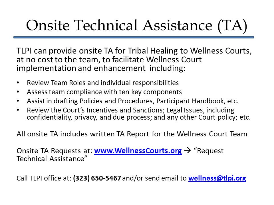 Onsite Technical Assistance (TA)