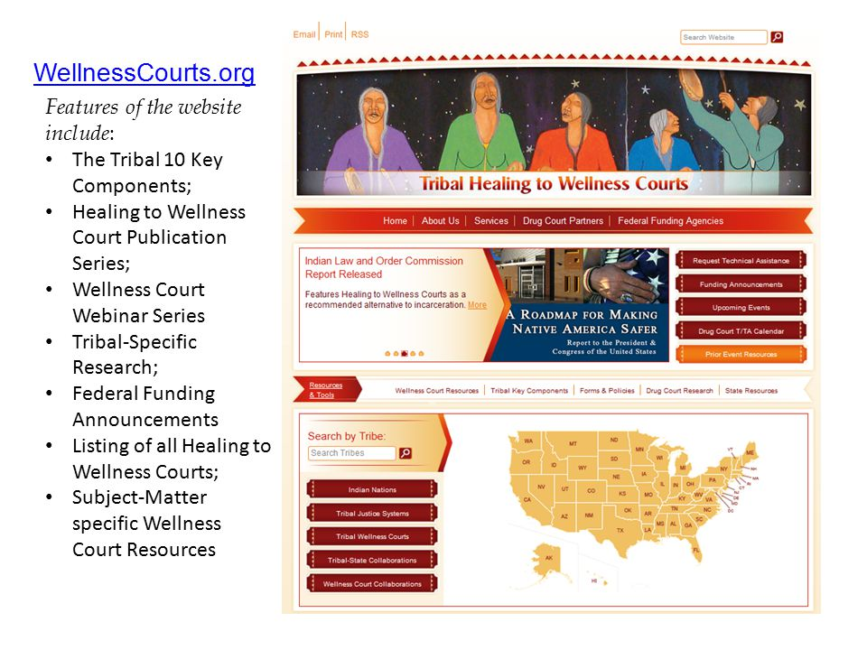 WellnessCourts.org Features of the website include: